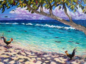Piti Moa Oni - Two Roosters, Huahine