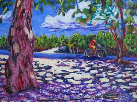 Vahine i nia te pere'o tahatai, Maeva, Huahine  Girl on a bike, Maeva, Huahine