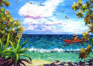 Va'a 'ute'ute Acrylic on poster board Available at Pacific Art Boutique, Huahine